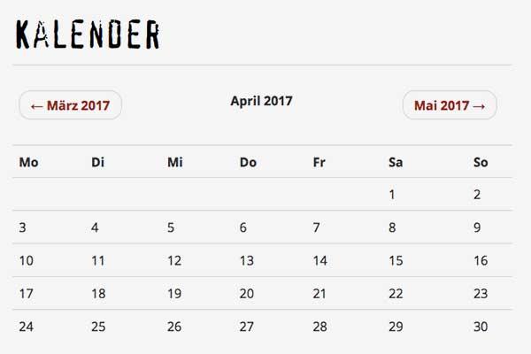 Kalenderübersicht für das Bürgerbräu Würzburg
